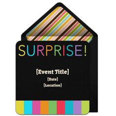 "One of our favorite free surprise party invitations, ""Surprise Stripes."" Easily personalize and send via email for a fun milestone surprise birthday party!"