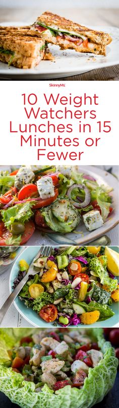Healthy Weight 10 Weight Watchers Lunches in 15 Minutes or Fewer! Try them for dinner this week! - Who has time to prepare a healthy lunch? Dig into these 10 Weight Watchers lunches ready in 15 minutes or fewer. Weight Watchers Lunches, Plats Weight Watchers, Weight Watchers Diet, Weight Watcher Dinners, Ww Recipes, Lunch Recipes, Recipes Dinner, Recipies, Soup Recipes