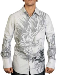 Rebel Spirit Embroidered Filigree Shirt (Gray)