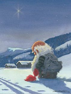 A sweet little gnome and a very special star... Merry Christmas. :) (Artist: Kjell Midthun.)