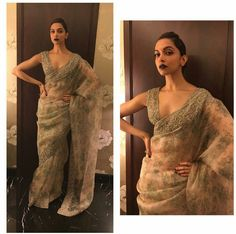 Deepika padukone wearing green printed saree by Sabyasachi at Lakme Fashion Week 2016 Finale