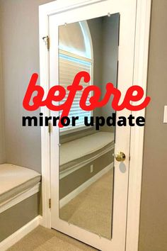 Quick simple rustic mirror makeover idea. How to update a cheap mirror. Plain builder grade mirror upgrade on a budget. before and after mirror makeover idea. #mirrormakeoverdiy #easymirrormakeover Industrial Mirrors, Rustic Mirrors, Ikea Mirror, Diy Mirror, Diy Home Decor Projects, Easy Home Decor, Dollar Tree Mirrors, Mini Pallet Coasters, Cheap Mirrors