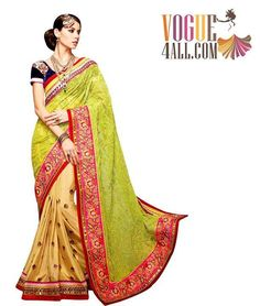 ### BEAUTIFUL AND CLASSIC GREEN AND BEIGE COLOR DESIGNER SAREE ###