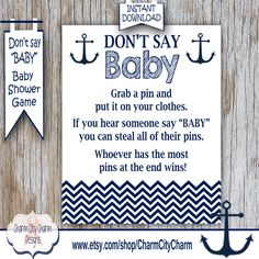 Nautical Donu0027t Say Baby Baby Shower Game, Clothes Pin Game, Nautical Boy  Shower, Nautical Baby Shower Game, Anchors, INSTANT DOWNLOAD