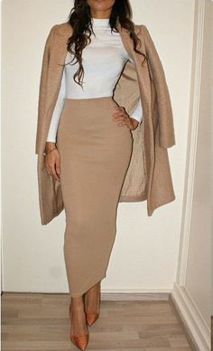 Khaki colored midi pencil skirt paired with a white top!