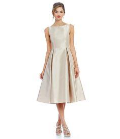 Champagne:Adrianna Papell Sleeveless Midi Taffeta Dress