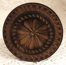 Antique Screw Handle Butter Stamp - Deeply Carved Flower - AAFA