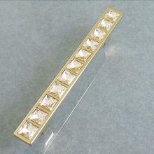 10 stks 128mm vierkante crystal kast handvat lade gouden grepen meubels knoppen garderobe kast pulls schoenen doos handgrepen(China (Mainland))