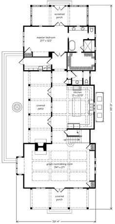 Hampstead Place - Hampstead Place – Geoff Chick and Associates, Inc Southern Living House Plans, Cottage House Plans, Craftsman House Plans, New House Plans, Modern House Plans, Small House Plans, Beach House Floor Plans, Long House, Interior Minimalista