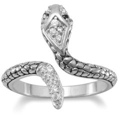 Rhodium plated cz snake ring ($50) ❤ liked on Polyvore featuring jewelry, rings, clear crystal jewelry, rhodium plated ring, cubic zirconia jewelry, clear rings and cz jewellery