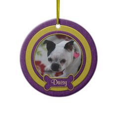 Purple and Gold Pet Photo Christmas Ornament