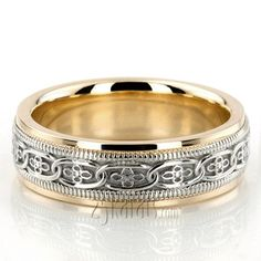 Classic Floral Carved Celtic Wedding Ring