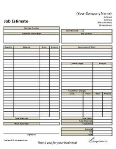 paint estimate form