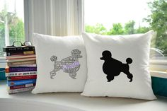 Typography French Poodle Pillows - Adorable :)