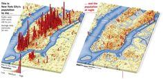 City population shift maps  (day vs night). New York City, Dallas, Seattle, San Fran, Boston, Chicago