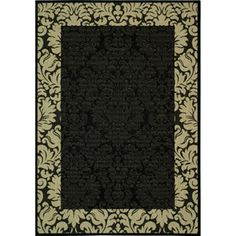 Courtyard Newbury Indoor/Outdoor Rug, Black/Sand
