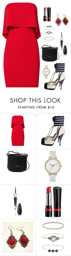 """""""B&W ~ pop of red"""" by caralulu ❤ liked on Polyvore featuring Jay Godfrey, Chanel, Lancaster, Skagen, Lancôme, Rimmel and Accessorize"""