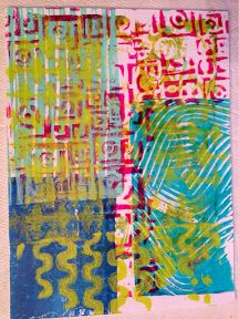 http://laurelenglehardt.blogspot.com/ -- I'm addicted to Gelli plate printing so worked on that.   This first round was using an idea from Jane Davies where she sets up a color/pattern on the plate and prints on sections of various pages and overlapping as she goes. I'm definitely going to try that again.