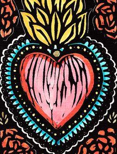 Illustrations, Illustration Art, Mexican Folk Art, Sacred Heart, Heart Art, Textures Patterns, Diy Art, Cute Wallpapers, Iphone Wallpaper