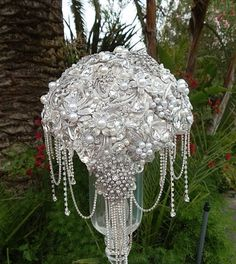 CRYSTAL BROOCH BOUQUET , Deposit for this Custom Silver Jeweled Wedding Bouquet, Brooch Bouquet, Crystal Bouquet, full price 550 by Elegantweddingdecor on Etsy https://www.etsy.com/listing/205278615/crystal-brooch-bouquet-deposit-for-this
