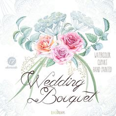 Watercolor Wedding Bouquet Roses Flowers Foliage от ReachDreams