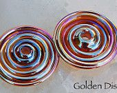 Golden Discs,  2 slim discs in metallic gold with pink hues, handmade glass beads, lampwork beads by Beadfairy Lampwork, SRA