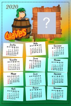 Calendario 2020 do Chaves. Adicione uma foto! Cricut, Lettering, Education, Frame, Diy, Samara, Calendar Printable, Free Printable Calendar, School Supply Labels