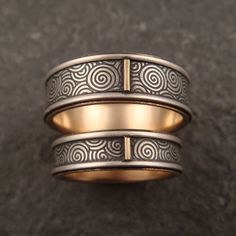 9ea56cba8168 Spiral Wedding Band Set with 14k Gold by DownToTheWireDesigns