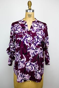 Ivanka Trump Womens Blouse/Top/Button Up Floral Pink Maroon Purple - S/P NWT $69 #IvankaTrump #Blouse #CareerCasualEveningOccasion