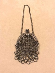 Vintage Mini Silver Tone Mesh Coin Purse with Chain #Unbranded