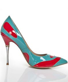 Red Blue High Heel Patent Leather Shoes 78.33