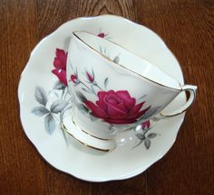 "Royal Albert ""Sweet Romance"" -  Bone China England - Vintage Tea Cup and Saucer - Red Roses with Gold Trim by OfftheShelf2015 on Etsy"