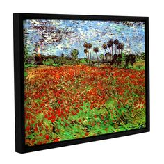Poppy Field by Vincent Van Gogh Gallery-Wrapped Floater-Framed Canvas