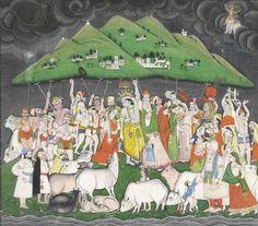 A painting of Krishna lifting