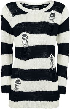Knitted sweater from R.E.D. by EMP: - Distressed look - Knitwear - Crew neck This black-and-white striped knitted sweater will definitely help you stand out, and the holes let your skin peek through. The distressed look goes well with the wide crew neck that allows you to show a little shoulder, if you like. The knitted sweater hangs down below your bottom. You've definitely found your new favourite jumper with the 'Troublemaker' from R.E.D. by EMP.