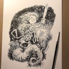 """The latest drawing for The prompt word is """"SWORD"""" for Day six. I just had to draw one of my favorite characters, Peter Pan. Don't forget to check out my new art book Kickstarter, """"INK TANK"""" with PLEASE spread the word around! J M Barrie, Classic Literature, Cartoon Design, Captain Hook, Fantasy Artwork, My Favorite Part, Faeries, Peter Pan, Inktober"""