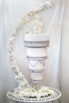From Elizabeth's Cake Emporium, a gravity defying upside down hanging chandelier cake