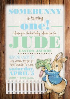 Peter Rabbit Birthday Invitation / Baby Shower