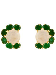 Emerald And Moonstone Earrings by Bounkit from Bounkit Jewelry