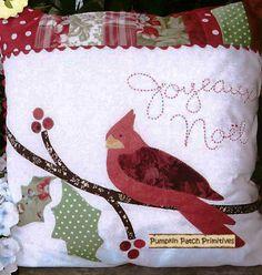 ~ Joyful Tidings ~ It's not a quilt but it is Applique.... I L <3 ve cardinals!