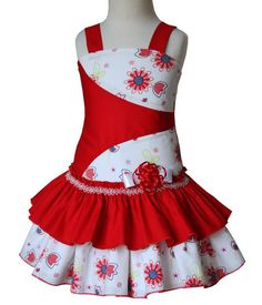 This gorgeous red ruffle girls dress is perfect for the summer and on Valentines day, it has two rows of raffles, and a changeable bow that you can put on a head band. Made 100 % cotton. Girls Smocked Dresses, Little Dresses, Little Girl Dresses, Toddler Dress, Baby Dress, Kids Frocks, Kind Mode, Summer Girls, Kids Outfits
