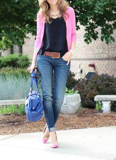 Pink cardigan, blue top and capris