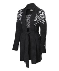 $201 Neve Charcoal Snowflake Silk-Merino Blend Connie Cozy Wrap Cardigan on zulily 10 nov