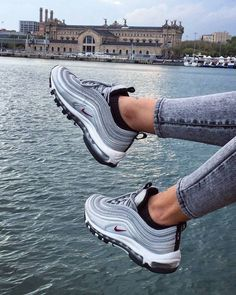 Air max 97 outfit, cool nike shoes, cute shoes, me too shoes, Sneaker Outfits, Nike Outfits, Gold Sneakers, Sneakers Fashion, Sneakers Nike, Fashion Shoes, Gray Sneakers Outfit, Adidas Shoes, All Nike Shoes