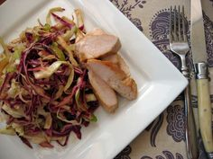 """Fennel and Cabbage Slaw with """"mayo"""" Dressing: olive oil, apple juice, mustard, ACV, sugar/honey/xylitol, greek yoghurt."""