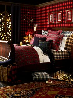 Plaid bedding and oriental rug