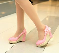 Cute pink and yellow wedged shoes. Fancy Shoes, Pink Shoes, Cute Shoes, Me Too Shoes, Prom Heels, Sexy Heels, Shoes Heels Boots, Wedge Shoes, High Heels For Kids