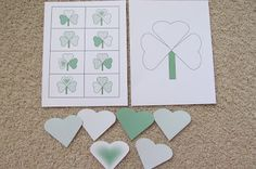 Shamrock Match and Build - use the hearts to create a shamrock that matches one of the template cards.