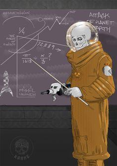 Attack of planet earth (by Krane) Crane, Planet Earth, Bones, Planets, Death, Skull, Sugar, Anime, Cartoon Movies