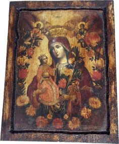 VIRGIN MARY - The Unwithering Rose - Orthodox Byzantine icon on wood handmade - Greece